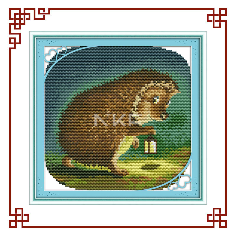 NKF The nocturnal hedgehog cross stitch ornaments D390