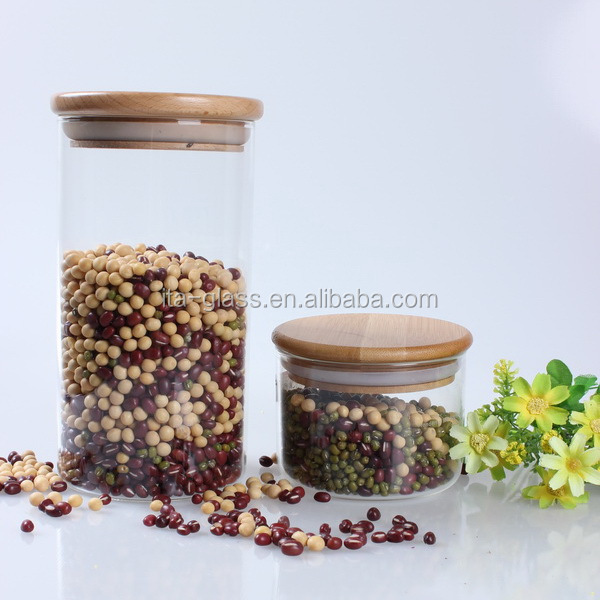 2014 Best-selling High-end Glass cooking sealed Pots/ Cans/ Jars with Wooden Lid , Glass storage jars 300ml to 1400ml