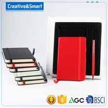 High Quality Logo Print Diary Leatherette Hardcover Wood-Free Printed Paper Notebook Attached Pen/ Free Sample Notebook