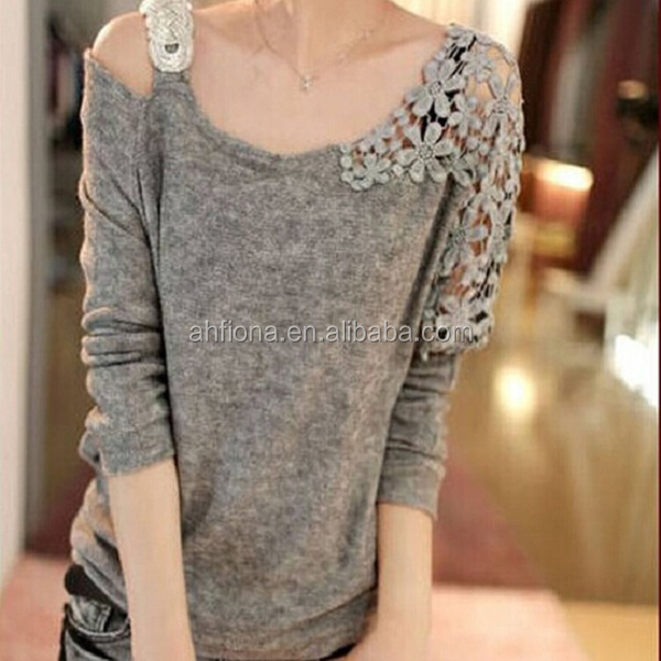 F40548A Korean ladies fashion clothing knitted lace fancy woman t shirt