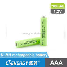 NI-MH 700mAh AAA Rechargeable battery cell, R03 1.2v nimh battery
