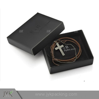 Brown Leather Hellboy Style Metal Cross Leather Bracelet for Men Box