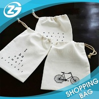 Drawstring Brand Logo Custom Promotional Canvas Cotton Pouch Bag