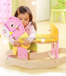 The Most Safety 23.5' Rocking Horse Ride Wooden Toys for Kids 2018