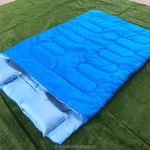 wholesale customized lightweight outdoor camping double sleeping bag with two pillows