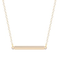 Silver Gold Plated Cute Square Modern Bar Pendant Necklace 16in Rhodium Plated for Women for Women