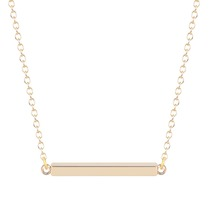 Silver Gold Plated Cute Square Modern Bar Pendant <strong>Necklace</strong> 16in Rhodium Plated for Women for Women