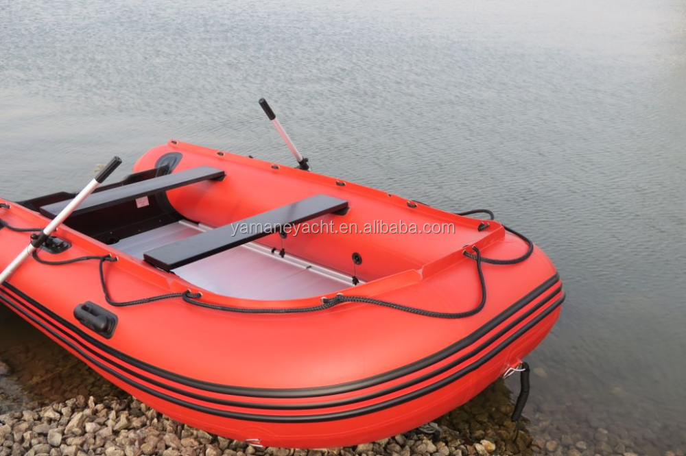 Factory directly sale dinghy inflatable boat with Aluminum Alloy bottom,0.9mm regid kayak for fishing.