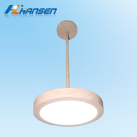 China wood pattern aluminium modern LED round chandelier ceiling pendant lamp