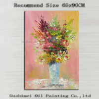 Wholesale Simple Designed High Quality Abstract Knife Flower Oil Painting On Canvas Handmade Flower Picture For Wall Decoration