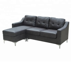 Modern designs comfortable leather L shape sofa set in living room made in China