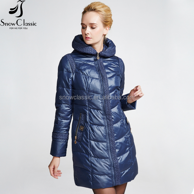 Eco-friendly Snow classic female winter quilted down coat fabrics