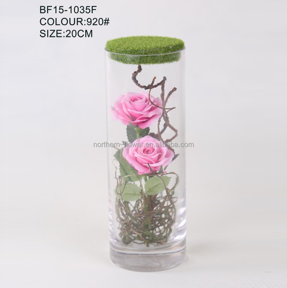 cheap wholesale artificial flowers in glass vase