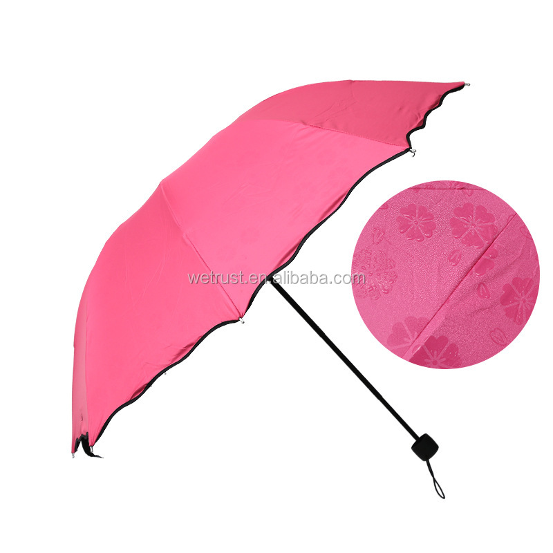 fashion colorful anti uv parasol flower 3 folding sun rain. Black Bedroom Furniture Sets. Home Design Ideas