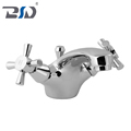 Double Cross Lever Chrome Polished Mono Basin Mixer Two Handle Kitchen Sink Faucet