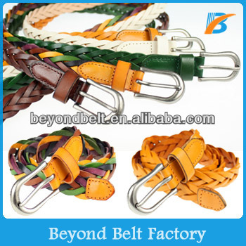 Beyond Womens Candy Color Skinny Braided Genuine Leather Dress Decor Belt