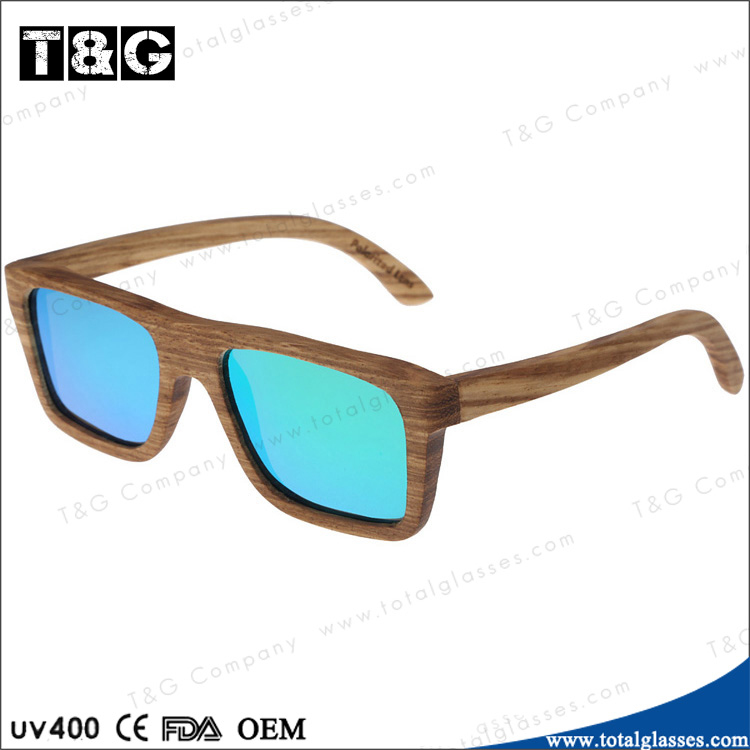 Blue lens eyewear original sunglasses men women zebra wooden sunglasses