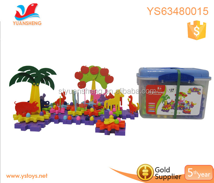 Funny virgin forest game puzzles DIY construction toys building brick toy