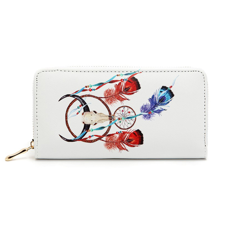 Indian Style Dream Catcher Feather Pattern Printed Travel Credit Card Zip Around Leather Wallet for Aboriginal People