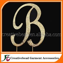 Wholesale Wedding rhinestone letter B cake topper, high quality rhinestone cake topper