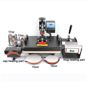 8 in 1 Combo sublimation Heat Press Machine Mug Plate Cap frame phone case T-shirt printer