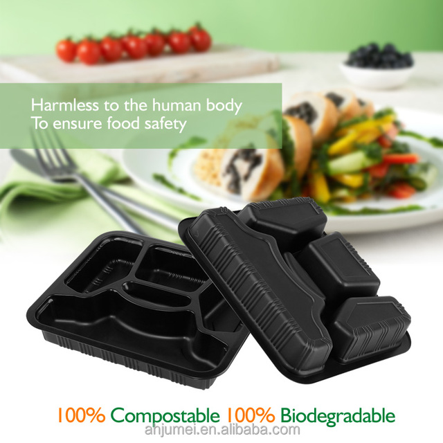 5 Hinged Fast Food Disposable PLA biodegradable Food Tray