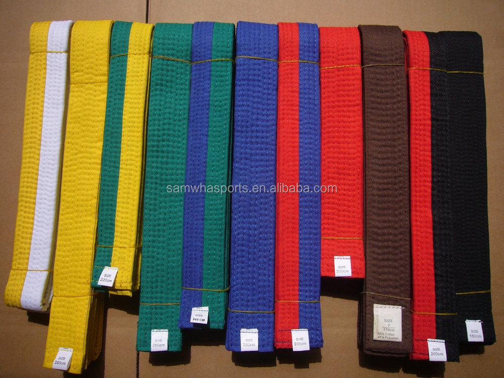 high quality custom taekwondo karate martial arts colorful belts for sale