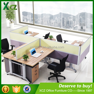 modern design cubicle office furniture aluminum office workstation partition for 4 clerk