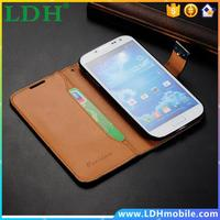 2013 New Vintage Deluxe Book Flip Wallet Case for Samsung Galaxy S4 i9500 Genuine Leather Phone cover bag,10pcs Free ship
