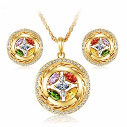 Three Times Of Gold Plating With Colorful AA Cubic Zirconia Copper Jewelry Set