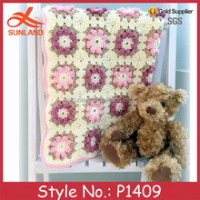 P1409 handmade fancy crochet knitted flowerr baby blanket patterns