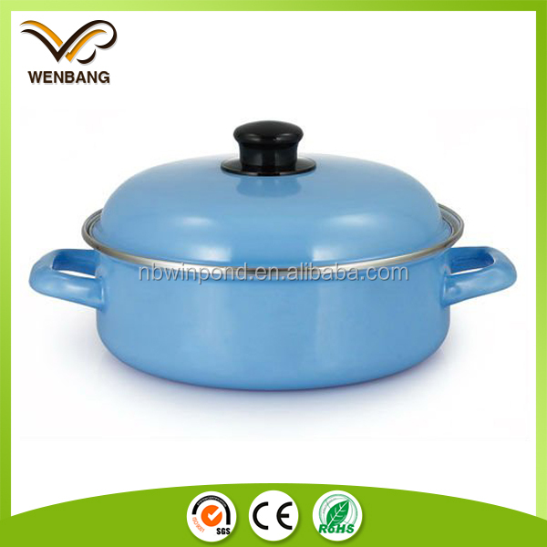Customized color coating cooking pot shallow seafood enamel pot