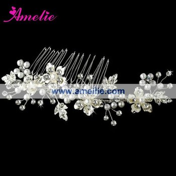 Hot Selling Wholesale Silver Pearl Floral Crystal Bridal Headpieces