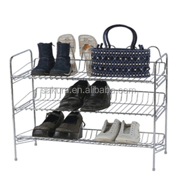3TIER METAL WIRE WITH WOODEN STANDER SHOES RACK,STORAGE RACK, 3 TIER SHOES SHELF AE-333