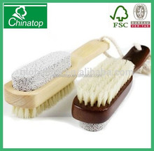 Wooden handle pumice stone bristle brush, foot brush, exloliating WPB018