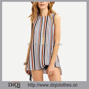 Latest design pictures summer guangzhou clothing factory OEM woman Multicolor Striped Split Side Sleeveless Blouse