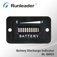 10-Bar LED Digital State Battery Discharge Indicator for Golf Cart, Electric Vehicle,12V&24V,24V,36V,48V,72V-RL-BI003