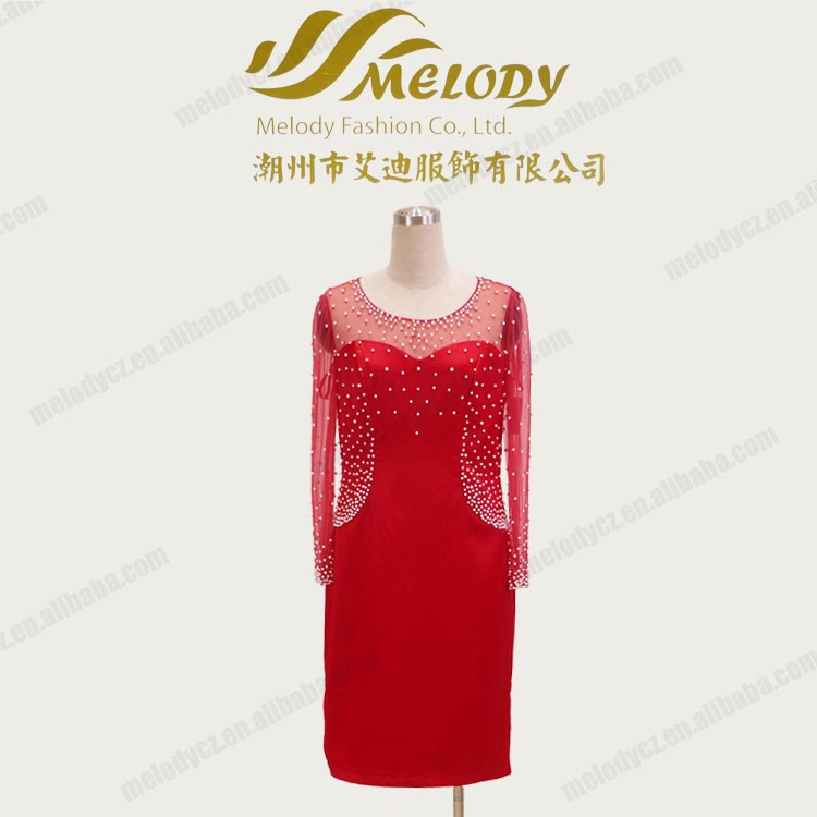 Red short tulle beaded long sleeve fashionable lastest sexy mature ladies dresses