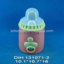 Nursing bottle shaped ceramic money box