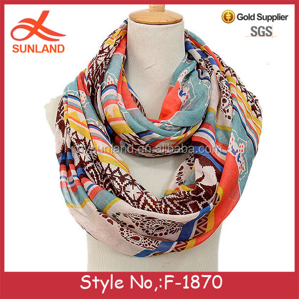 F-1870 new boho style women fancy neck voile scarf fabric