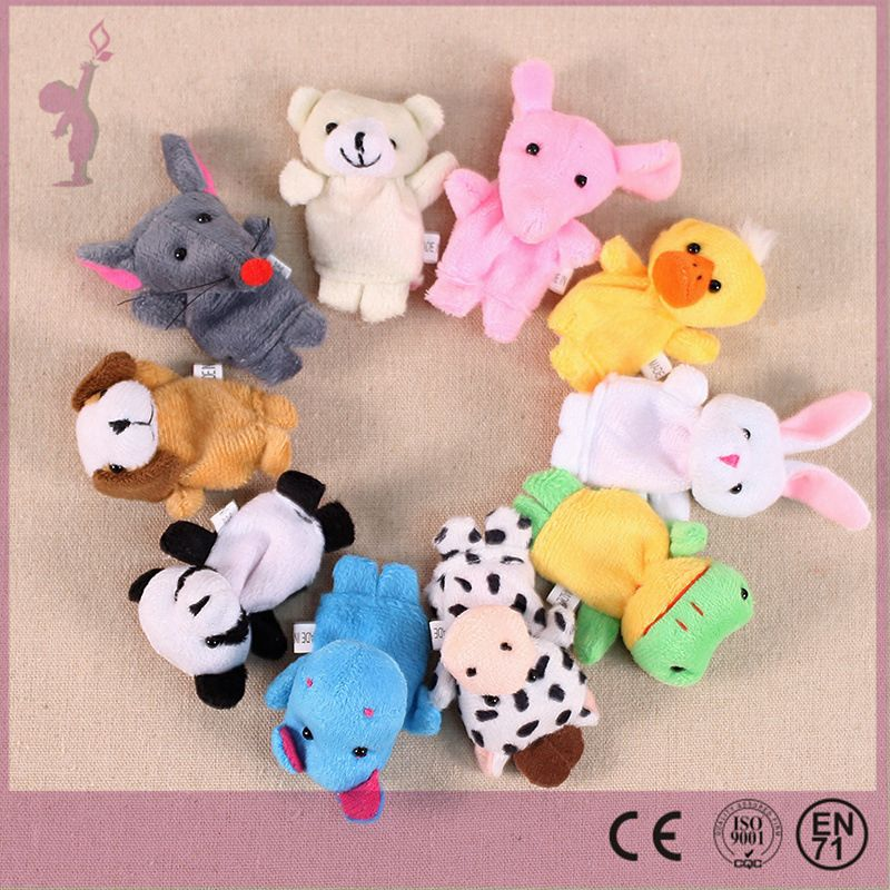 2016 hot alibaba Wholsesale children finger puppet set custom stuffed plush animal finger puppet