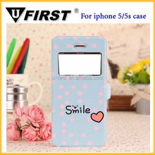 Mobile Phone Case Factory Price for iphone 5 5s with window Leather Stand flip Cover