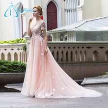 A Line Tulle Short Sleeve Wedding Dress Bridal Gown, Pink Wedding Dress