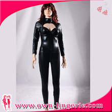 Wholesale Women Black Sexy Club Wear, Vinyl Latex Catsuit, Leather Catsuit Bodysuit