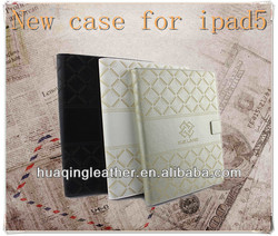 PU Leather Case for ipad 5 with Laser Printing Wallet case for ipad 5 Great taste tablet case for ipad 5 with card slots