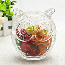 Animal shape design glass candy jar with cute lid transparent glass storage jar for home decoration