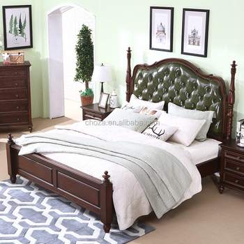 F40649A-1 Contemporary green italian leather double bed for bedroom furniture