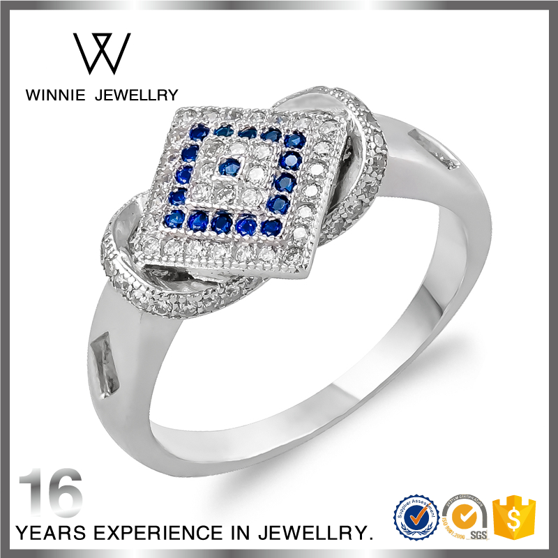 Fashion Wholesale Sapphire Blue ruby Engagement Name Rings 925 Sterling silver Wedding Rings for Women -RC0815304557