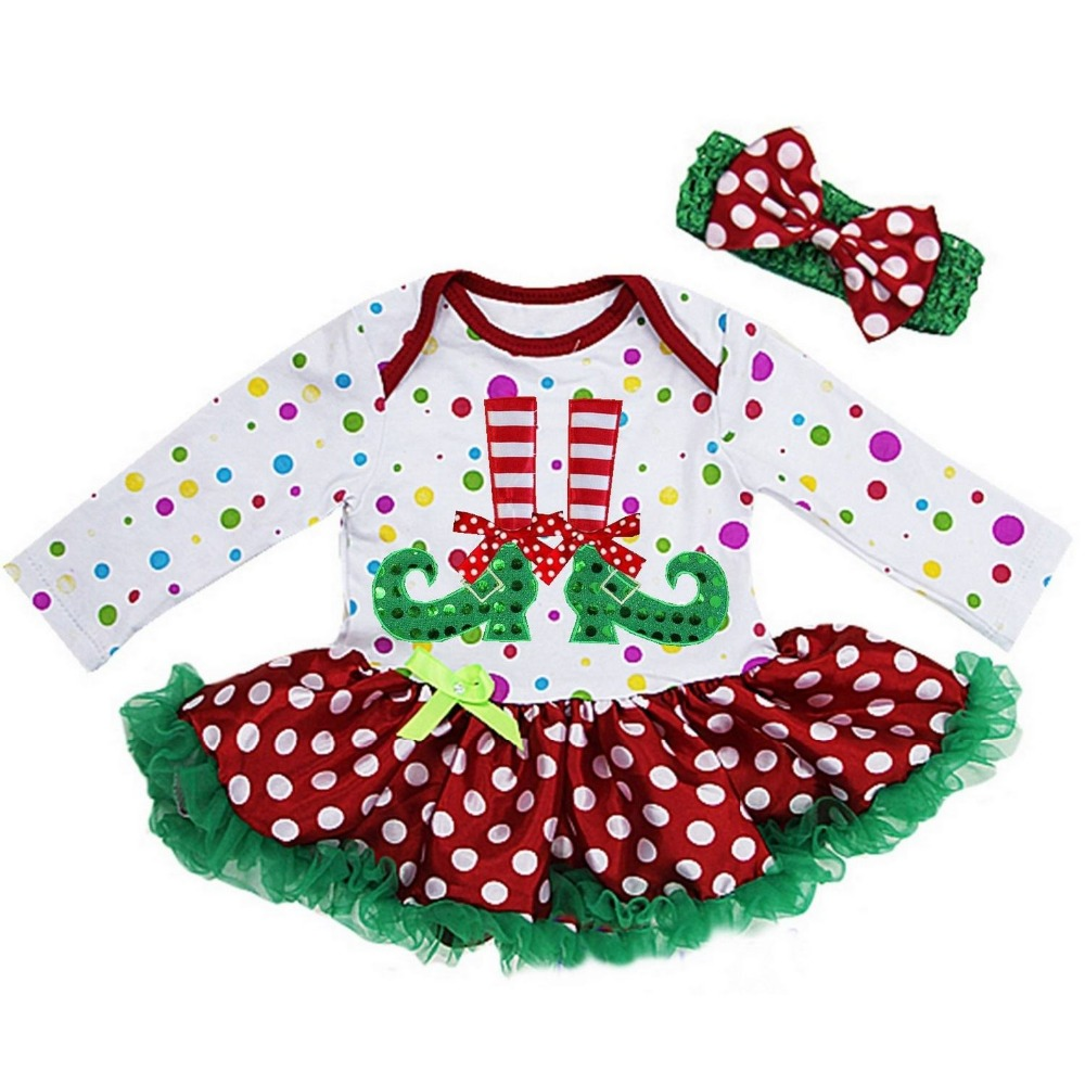 Baby Christmas Elf Feets Colorful Polka Dots Long Sleeves Bodysuit Tutu and Headband NB-18M