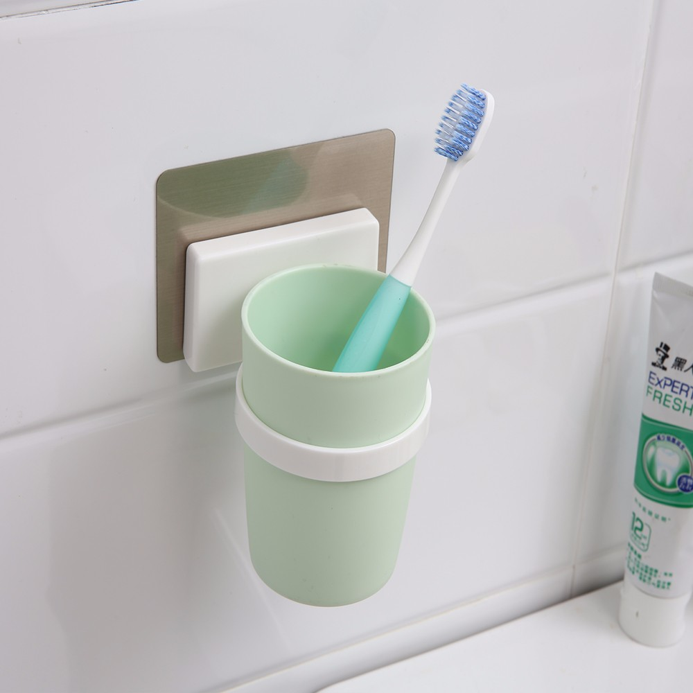 Easy Install Plastic Wall Mounted Toothbrush Cup Toothbrush Holder ...